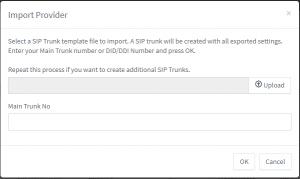 Screenshot Import Provider Fenster