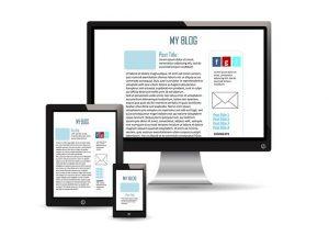 Monitore mit Aufschrift: Blog